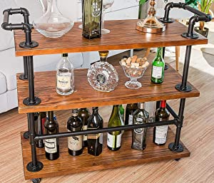 Bar Carts/Serving Carts/Kitchen Carts/Wine Rack Carts on Wheels with Storage for Kitchen Bar Living Room - Industrial Rolling Carts - 3 Tiers Wine Tea Beer Shelves/Holder - Solid Wood and Metal Pipe