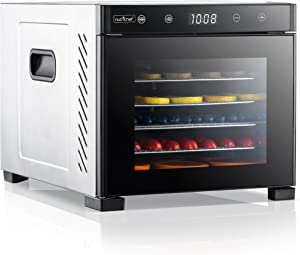 NutriChef NCDH6S.5 Electric Countertop Food Dehydrator Machine-600-Watt Premium Multi-Tier Meat Beef Jerky Maker Fruit/Vegetable Dryer w/ 6 Stainless Steel Trays, SMALL, BLACK