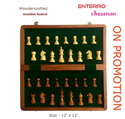 ENTERRO Magnetic Chess Classic Handcrafted Wooden Board - Foldable (12 inch x 12 inch)