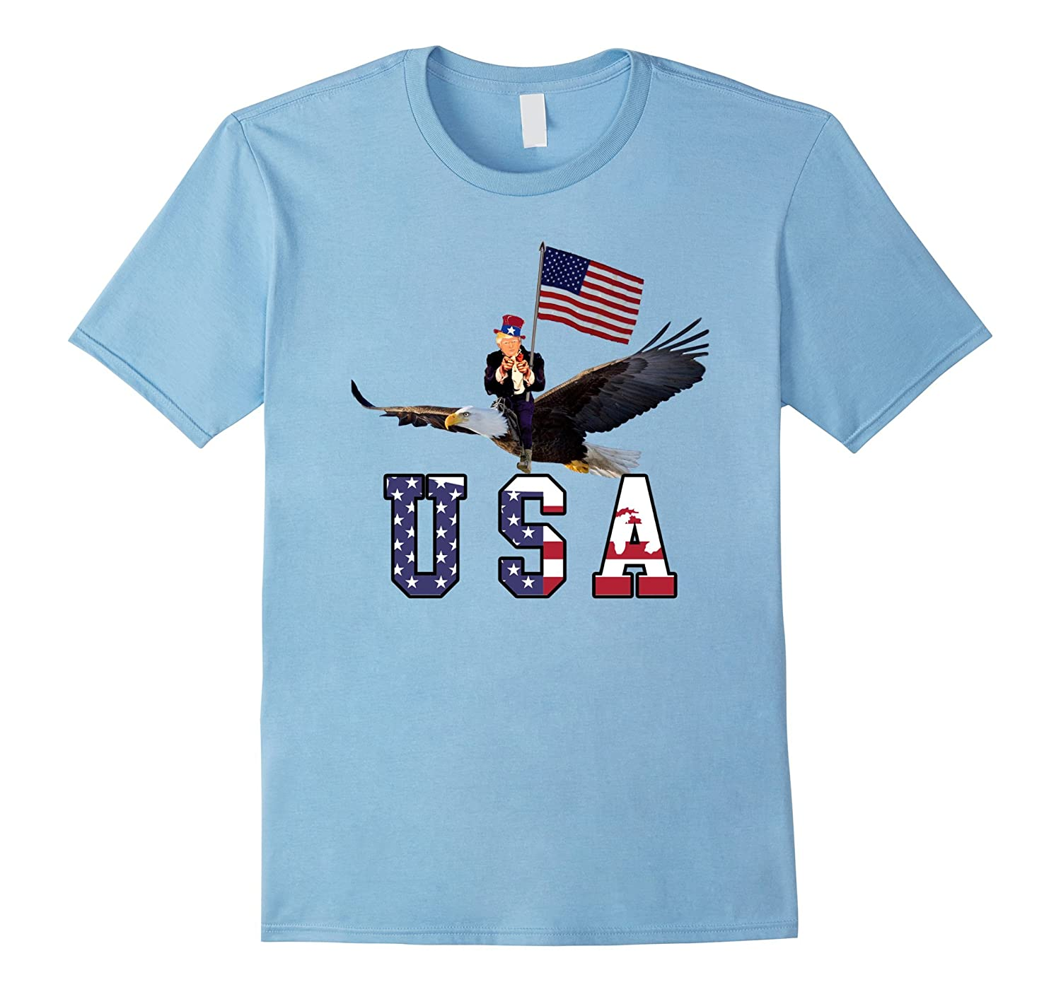 Funny 4th of July Shirt Trump Riding an Freedom Eagle-PL