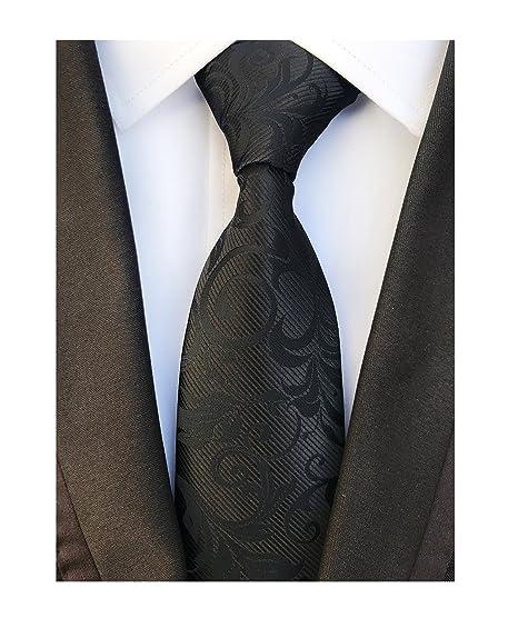 1ffdd9957c3c Men's Solid Color Black Silk Ties Wedding Silm Neckties Regular and Skinny  Width