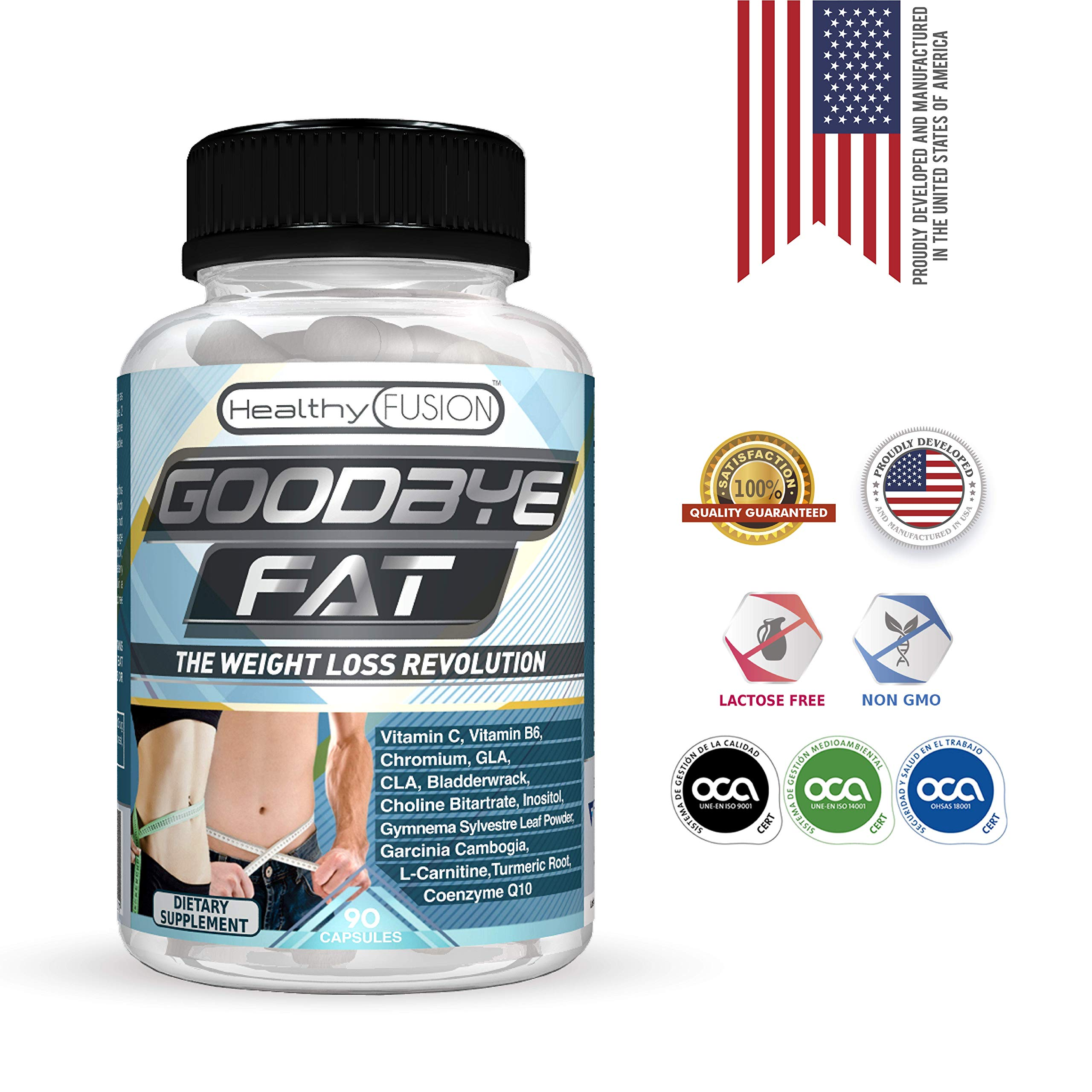 Goodbye Fat - Powerful Slimming Supplement & Fat Burner - Appetite Suppresant - Effective Thermogenics - Fast & Safe Slimming While Stimulating Metabolism - Exclusive Formulation - 90 Capsules by Healthy Fusion