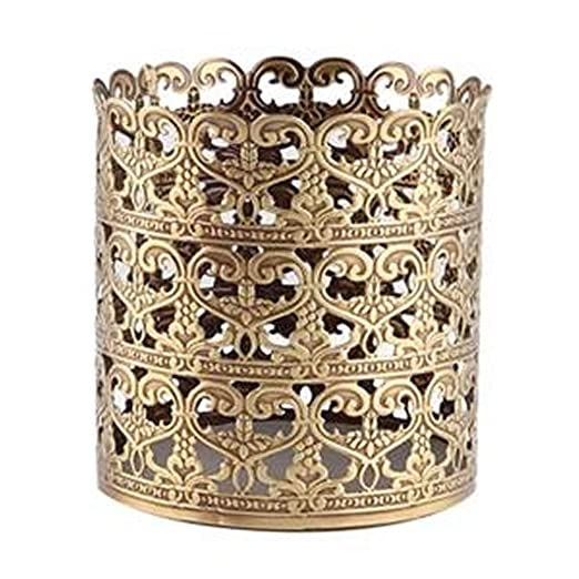 Victorian Makeup Guide & Beauty History Heart Patterned Vintage Hairbrush Holder Antique Make up Brush Holder Makeup Vanity Organizer (Brass Large) $18.99 AT vintagedancer.com