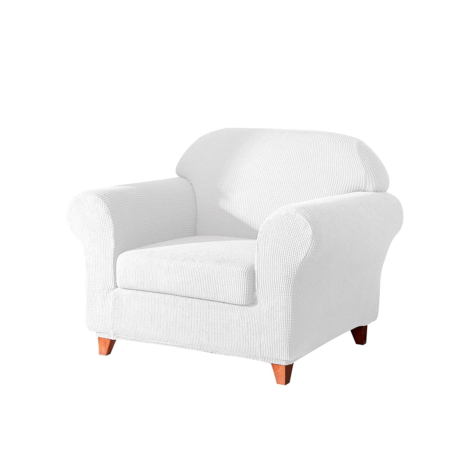 Fassbel 2-Piece Sofa Slipcovers Stretch Antislip Couch Cover for Living Room (Chair, Off-White)