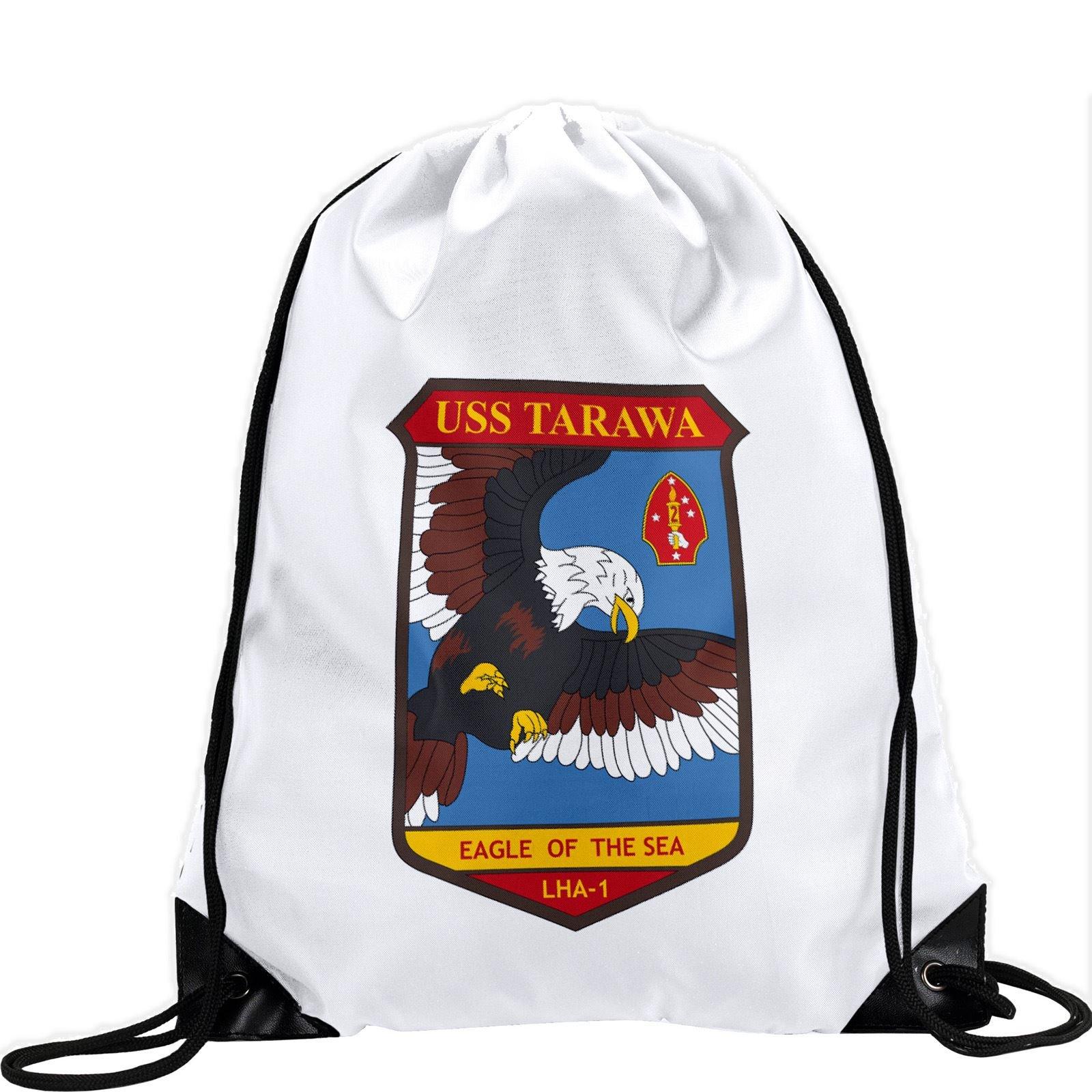 Large Drawstring Bag with US Navy USS Tarawa (LHA-1, Eagle of the Sea) (decom) - Long lasting vibrant image