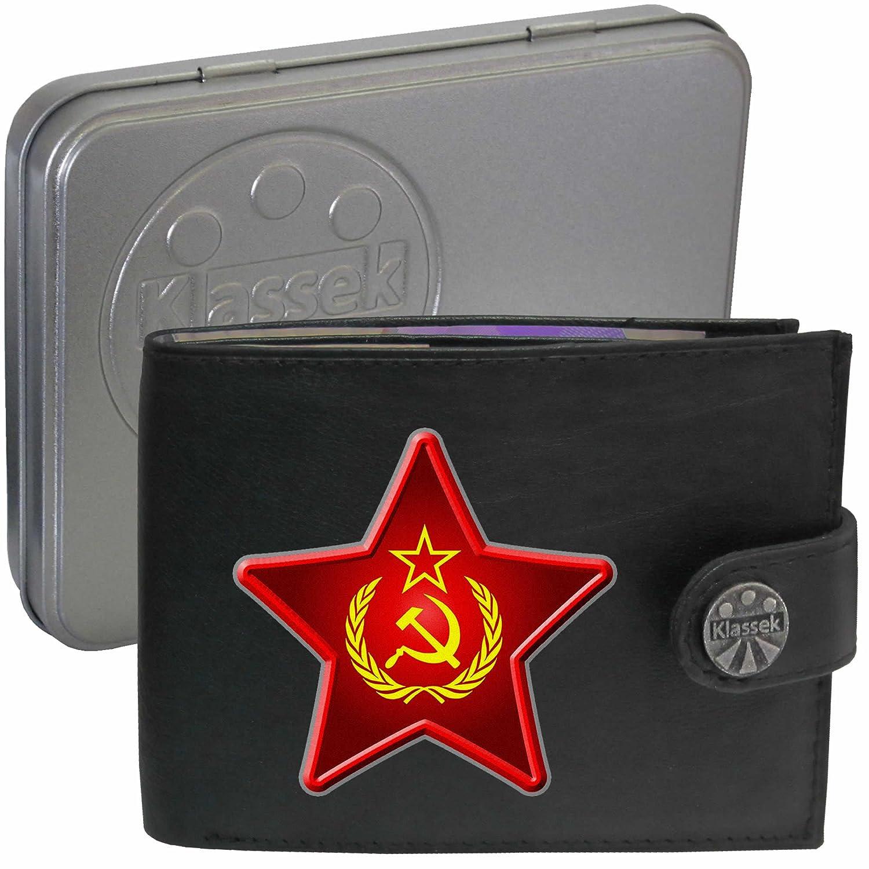 Klassek Hammer Sickle Star Wreath Soft Leather Wallet USSR Russia Russian Socialist communist Image gift with Metal Box