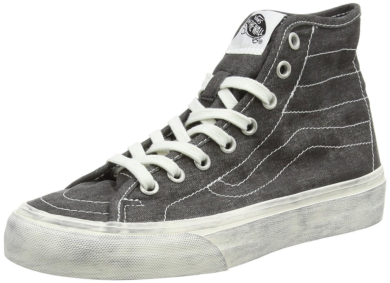 Vans U SK8-HI Unisex-Erwachsene Hohe Sneakers  35 EU Noir - Black (Overwashed - Black)
