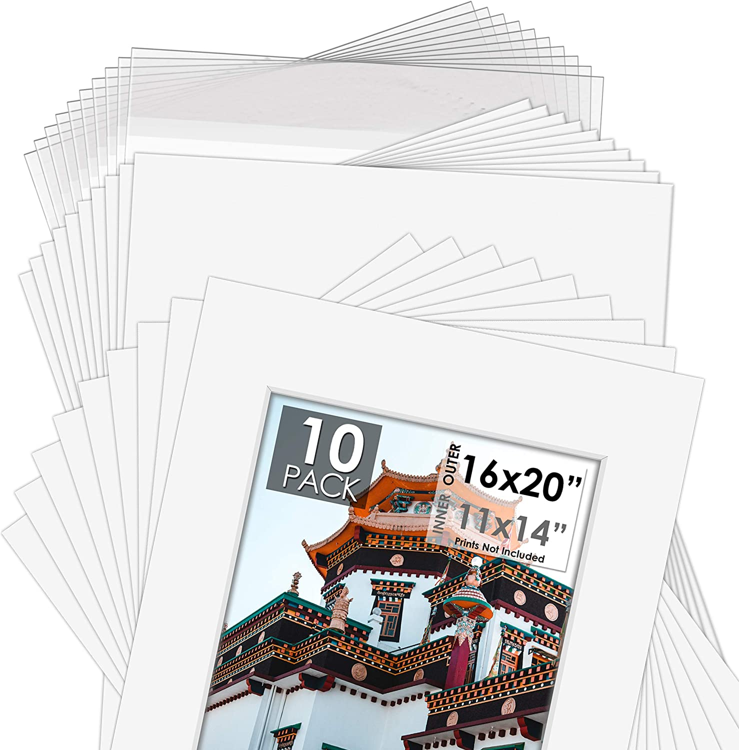 Backers /& Clear Bags Includes a Pack of 5 White Core Bevel Cut Mattes for 11x14 Photos Acid-Free Pre-Cut 16x20 White Picture Mat Set Mat Board Center
