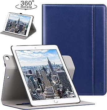 Ztotop Funda para iPad 9.7 Pulgada 2018/2017/Air 2/Air,rotación 360 Grados/Piel auténtica Smart Cover con Auto-Activa, Porta-lápices, Correa de Mano, Azul: Amazon.es: Electrónica