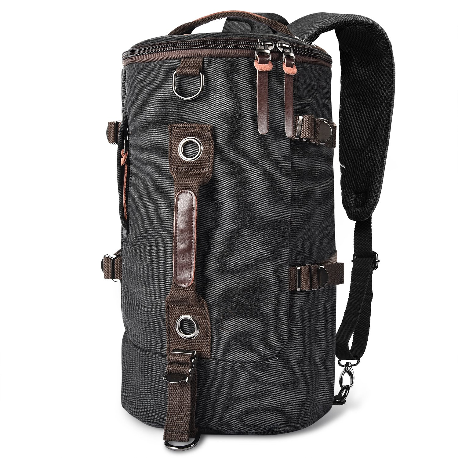 LUXUR Retro Duffel Cylinder Bag 26L Canvas Travel Backpack for Men Hiking Luggage Weekend Bag taipai LUX-1