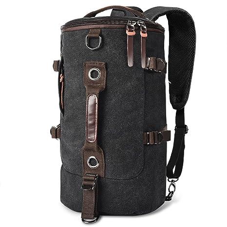 e38fe49d65 LUXUR Retro Duffel Cylinder Bag Canvas Travel Backpack Hiking Shoulder  Handbag