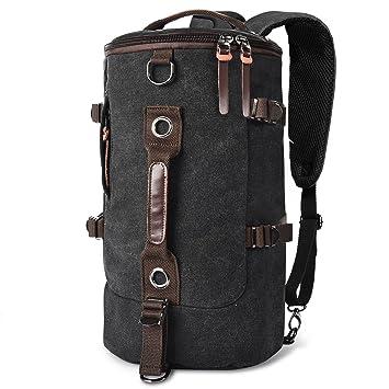 73c83a3b14 LUXUR Retro Duffel Cylinder Bag 30L Canvas Travel Backpack Hiking Shoulder  Handbag