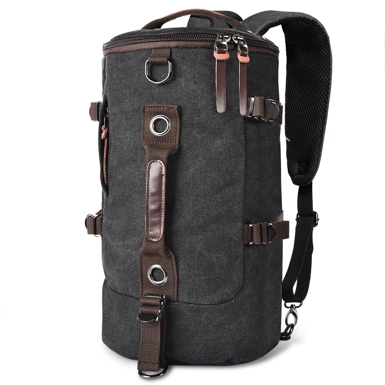 LUXUR Retro Duffel Cylinder Bag 26L Canvas Travel Backpack for Men Hiking Luggage Weekend Bag