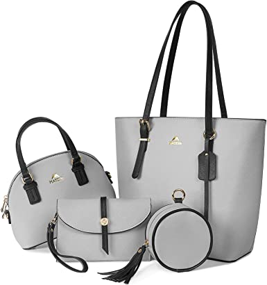 Tote Bag and Handbags for Women 4pcs Set, Fashion Purse Shoulder Bag with Adjustable Top Handles Large Waterproof Leather Work Satchel Bag Wallets Hobo for Daily Travel, Grey