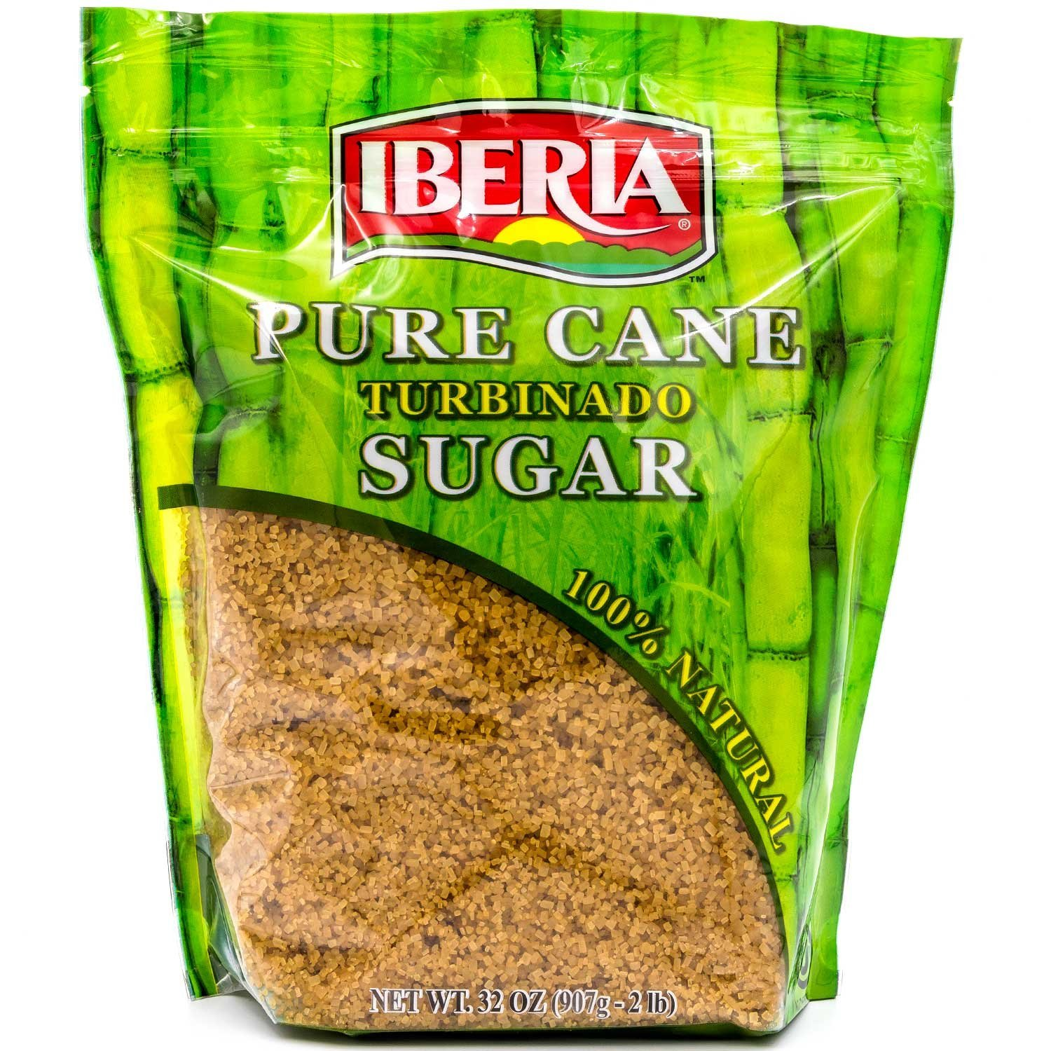 Iberia Turbinado Raw Sugar, 2 Lb, 100% Natural Raw Cane Sugar In a Resealable Bag by IBERIA