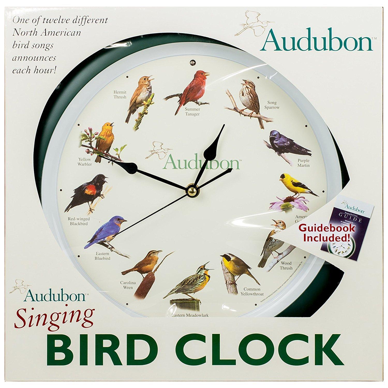 "Amazon.com: Audubon Singing Bird Clock - 13"" Green, Large: Home & Kitchen"