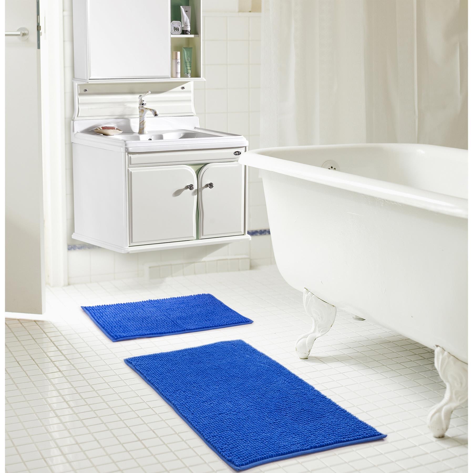 RT Designers Collection Kara Short Pile Chenille 2 Piece Bath Mat Set, 20'' x 32''/17'' x 24'', Royal Blue