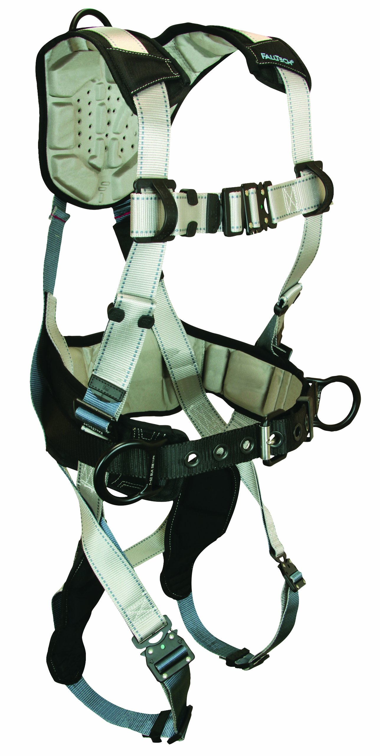 FallTech 7089L FlowTech Belted Construction Full Body Harness with 3 D-Rings, FlowScape Pads, Quick Connect Legs and Chest, Gray/Black, Large by FallTech (Image #1)