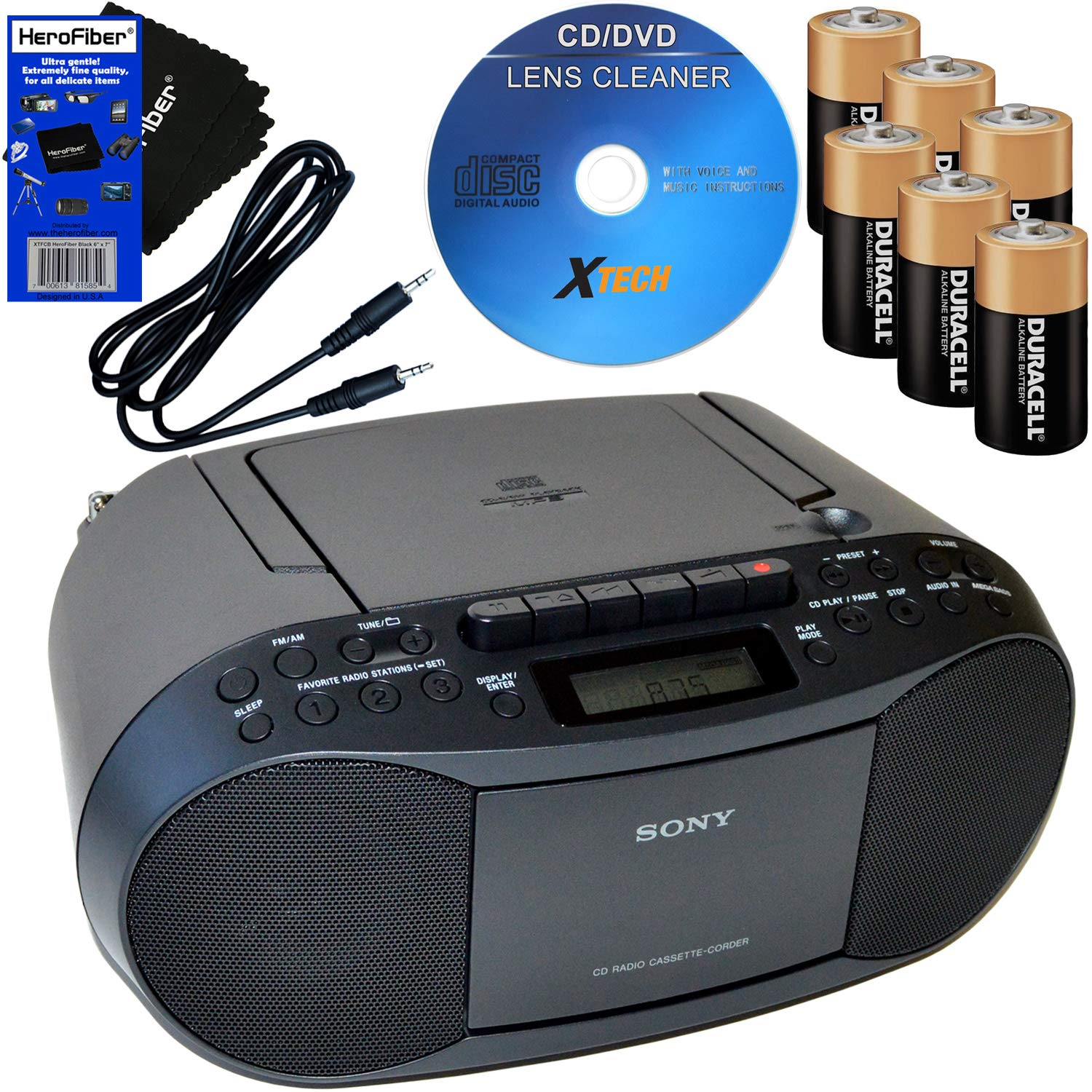 Sony Portable CD Player Boombox with AM/FM Radio & Cassette Tape Player + 6 Batteries + CD Maintenance Kit + Auxiliary Cable for Smartphones, MP3 Players & HeroFiber Ultra Gentle Cleaning Cloth