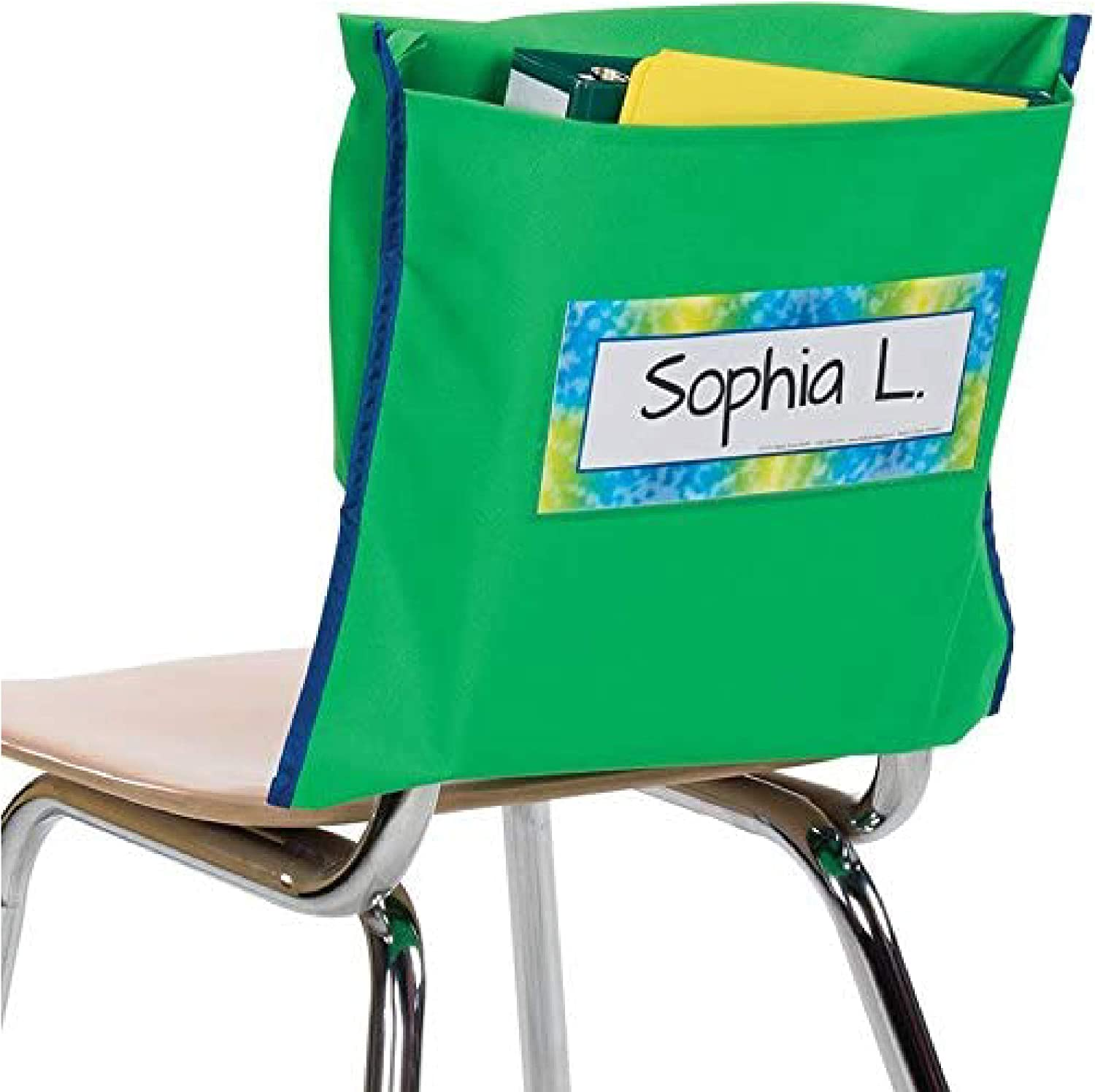Green Set of 6 Pocket Chair Organizer with Name Tag Keeps