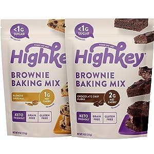 HighKey Keto Snacks - Low Carb Fudge Brownie Mix & Original Blondie Brownie Mix - Gluten & Grain Free Foods - No Sugar Added Sweets - Diabetic & Paleo Friendly Desserts - 2 Pack Brownie Mix Bundle