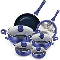 KUTIME 10pcs Cookware Set Non-stick Pots and Pans Set Blue Pan Non-stick Frying Pan Set Ceramic Coating Saucepan…