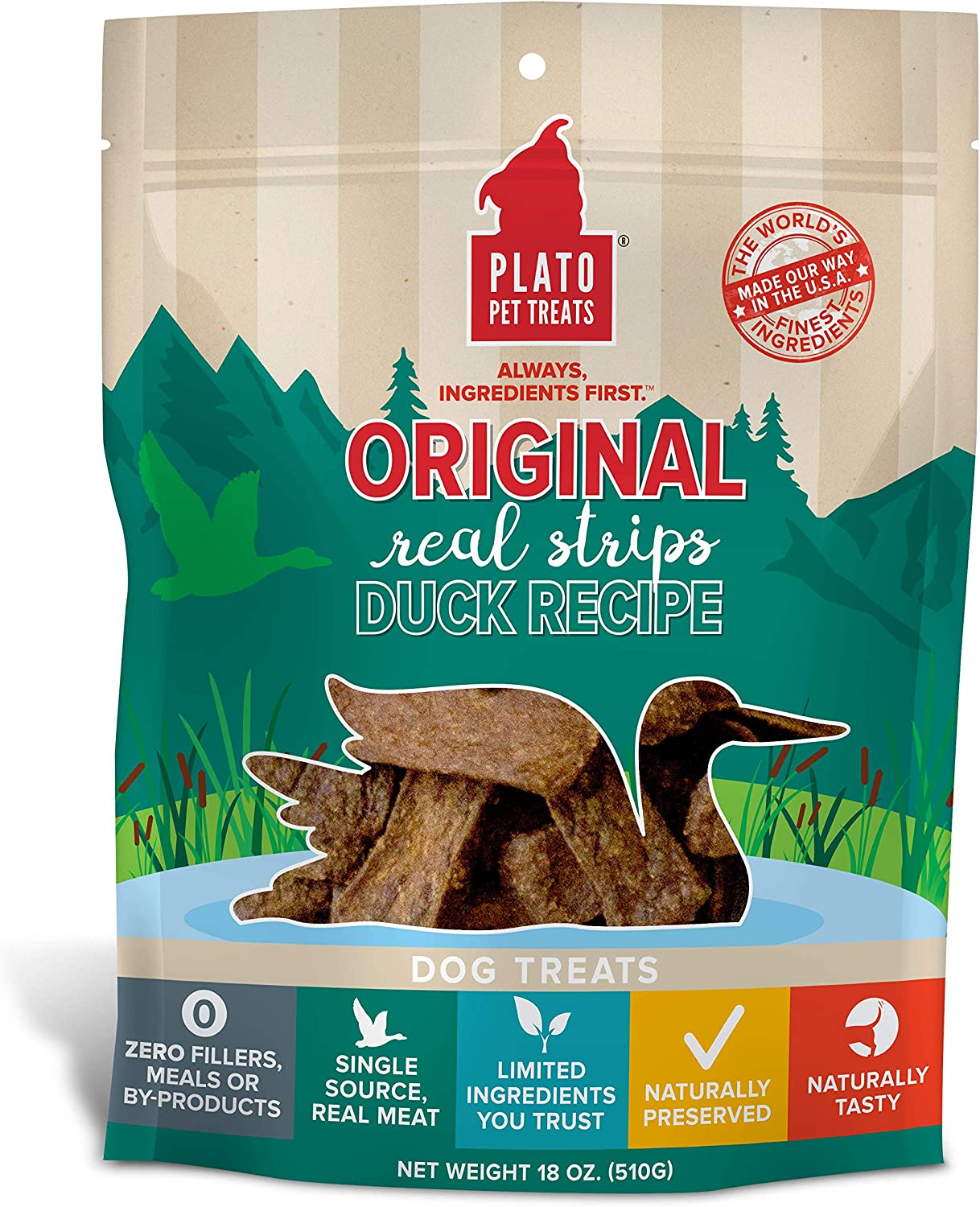 Plato Original Real Duck Strips Dog Treats, Meat Bars Made for Chomping