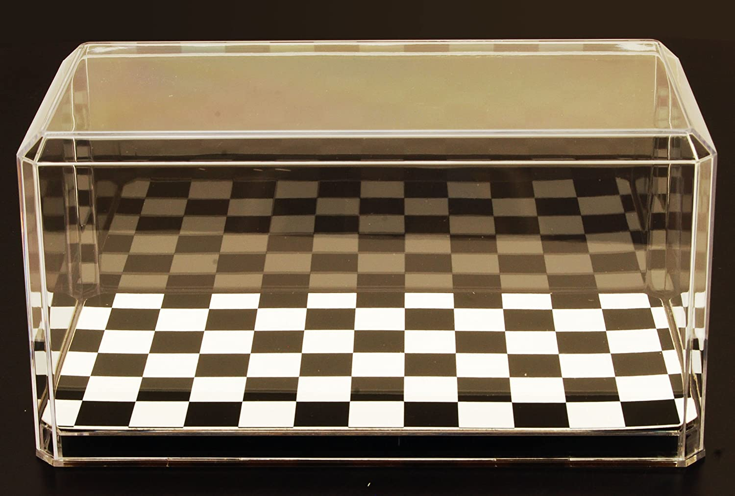 Acrylic Display Case with Checkered Flag Base for 1/24 Scale Diecast Collectibles Pioneer Plastics