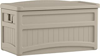 product image for Suncast 73-Gallon Medium Deck Box - Lightweight Resin Indoor/Outdoor Storage Container and Seat for Patio Cushions and Gardening Tools - Store Items on Patio, Garage, Yard - Taupe