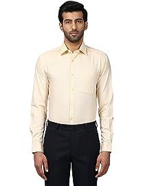 Raymond Checkered Medium Yellow Coloured Cotton Shirts at amazon