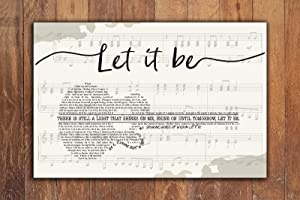 yokoisaya99store The Beatles, Let it be Lyrics, Horizontal Paper Poster No Frame, Song Lyrics Poster, Music Poster, Wall Decor, Wall Art,let it be Art,Poster