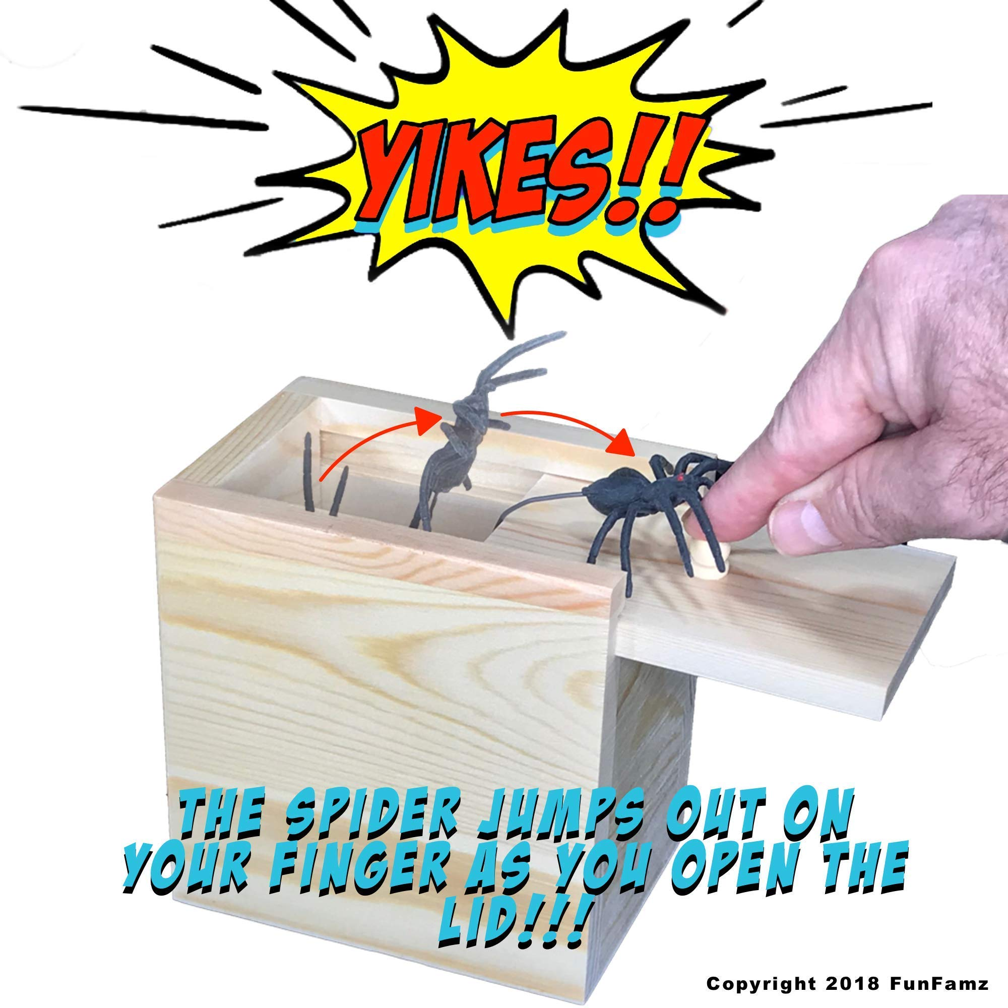 The Original Spider Prank Box- Hilarious Wooden Box Toy Prank, Funny Money Gift Box Surprise Toy, and Christmas Gag Gift Prank for Boys, Girls, Adults by FunFamz by FunFamz (Image #1)