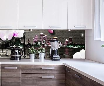 wandmotiv24 Cocina pared trasera Clinker - flores del vintage modernas Design M0549 180 x 60 cm (W ...
