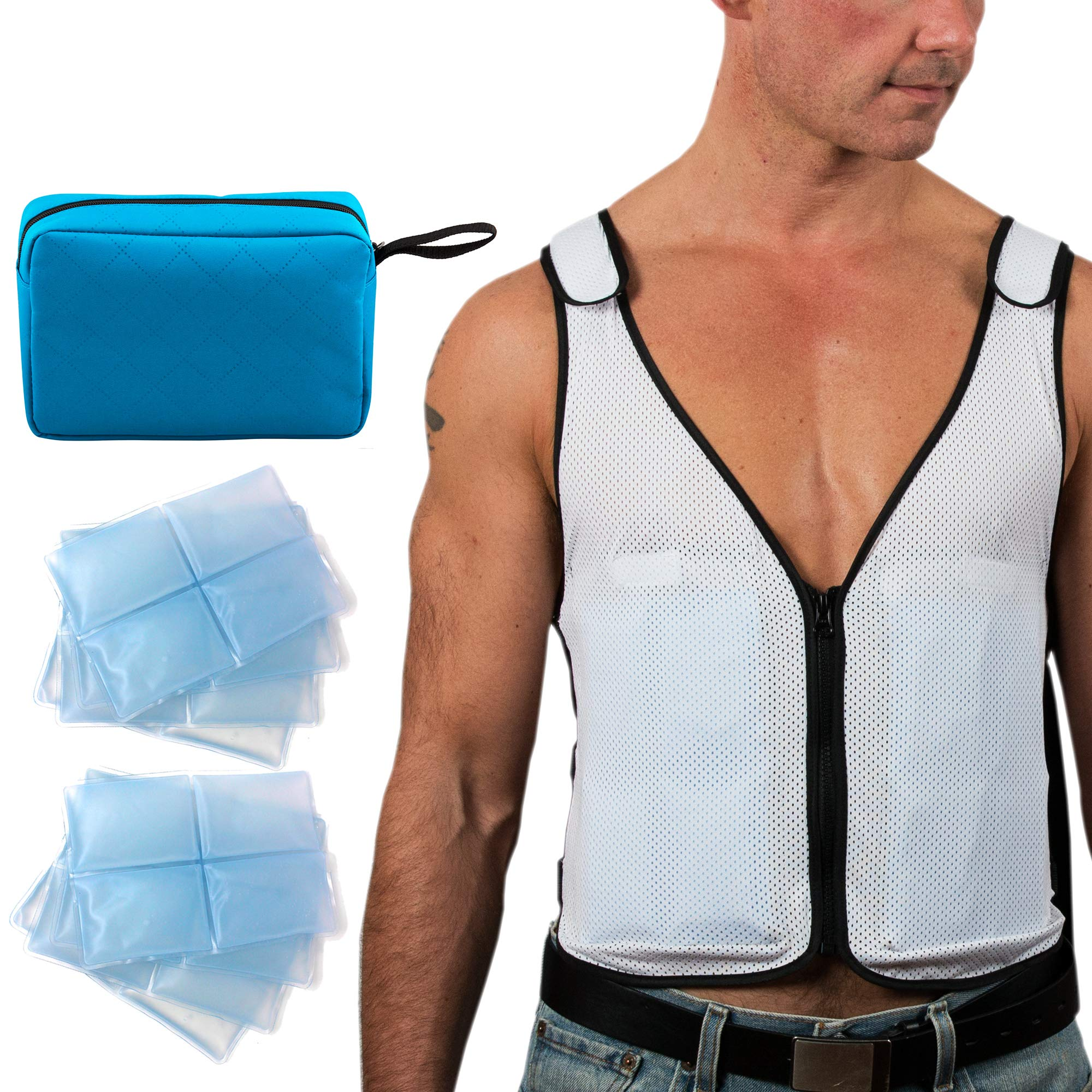 New Home Innovations Cooling Vest | Ice Vest - 8 x Body Ice Packs for Double Cooling Time - #1 Ice Cooling Vest for MS - Sport - Motorcycle - Cooking - Mascot - Cosplay Adjustable Cooling Shirt