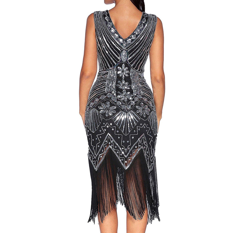 Comeon Damen Flapper Kleider voller Pailletten Retro 1920er Jahre ...