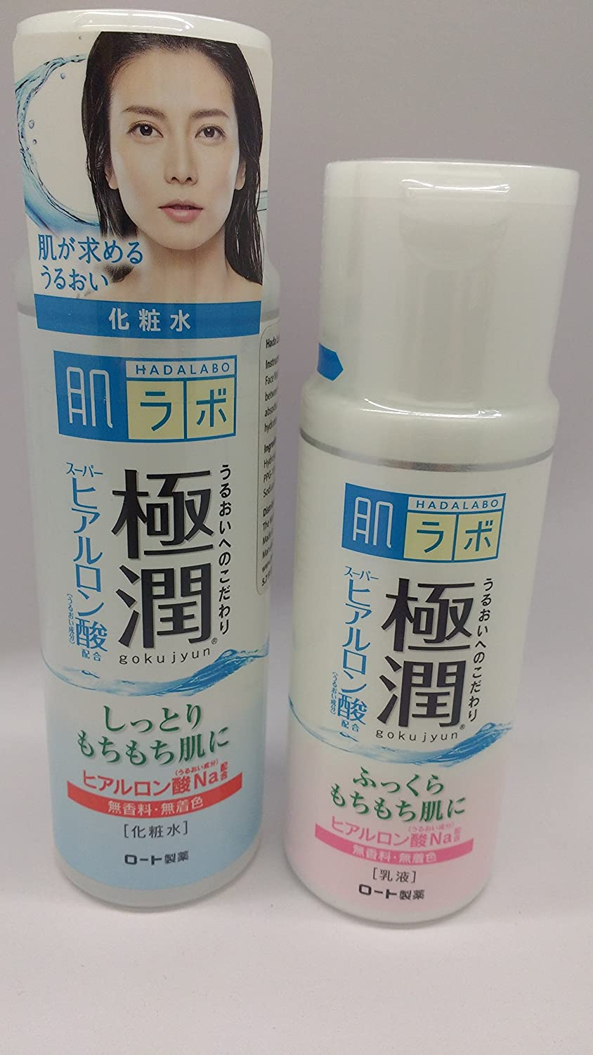 Hada Labo Gokujyun Super Hyaluronic Acid Hydrating Lotion (5.7fl/170ml) & Milk (4.7fl/140ml) Set by Hada Labo Rohto