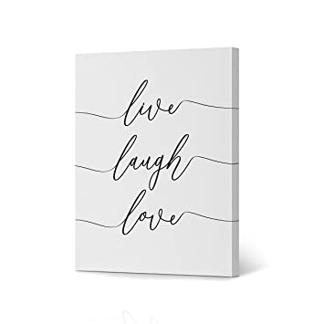 Live Laugh Love Quote Lettering Canvas Print White Background Black and  White Canvas Wall Art Calligraphy Wall Art Home Decor Ready to Hang- Made  in ...