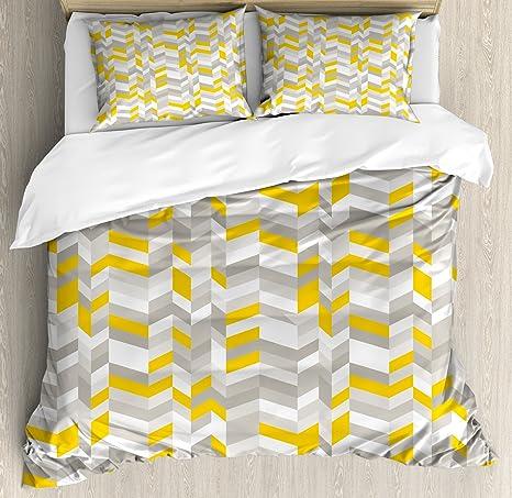 Geometric Geo Diamond Mustard Yellow Grey Double Duvet Quilt Cover Bedding Set
