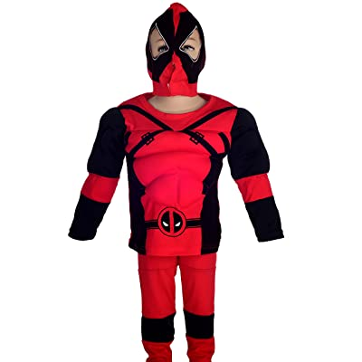 Dressy Daisy Boys' Costume Fancy Dress Up Muscle Superhero Costume Halloween Party Mask Size 6-7: Clothing