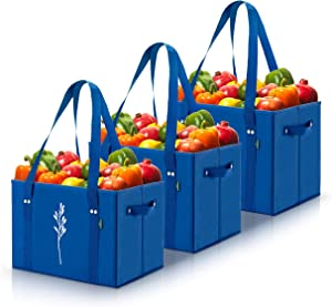 Green Bulldog Reusable Grocery Bags - Heavy Duty, Foldable, Washable Canvas Tote Shopping Bags - Box Bag w/ Straps And Handles (Set of 3) - Blue