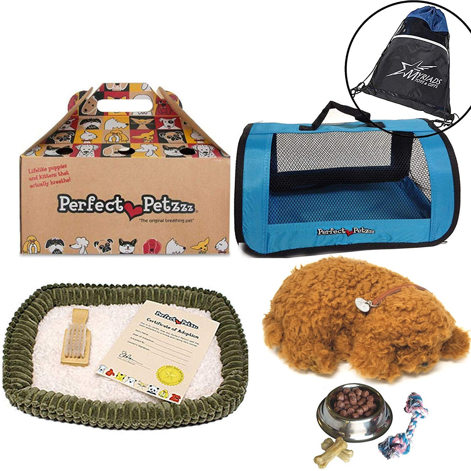 Perfect Petzzz Breathing Toy Poodle Plush Puppy Set, with Blue Tote, Dog Food, Treats, Chew Toy, and Drawstring Bag by Perfect Petzzz