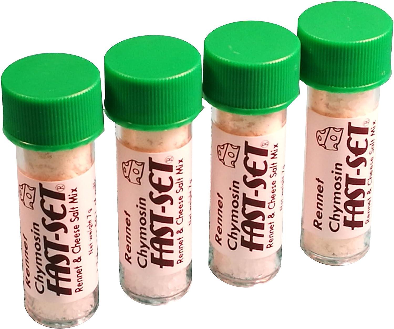 FAST-SET 4 x Quimosina cuajo 7 gramos Mezcla para 50 litros de leche Rennin Cheese sal & Coagulant Tub …