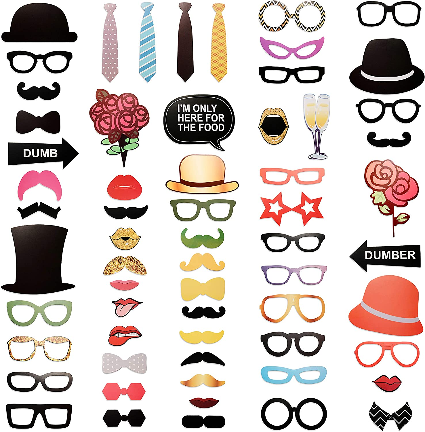 SIMBAD DIY Photo Booth Props | Birthday Party Selfies, Weddings,  Graduations (63 PCS) | All Will Enjoy Hats, Mustaches, Quotes!