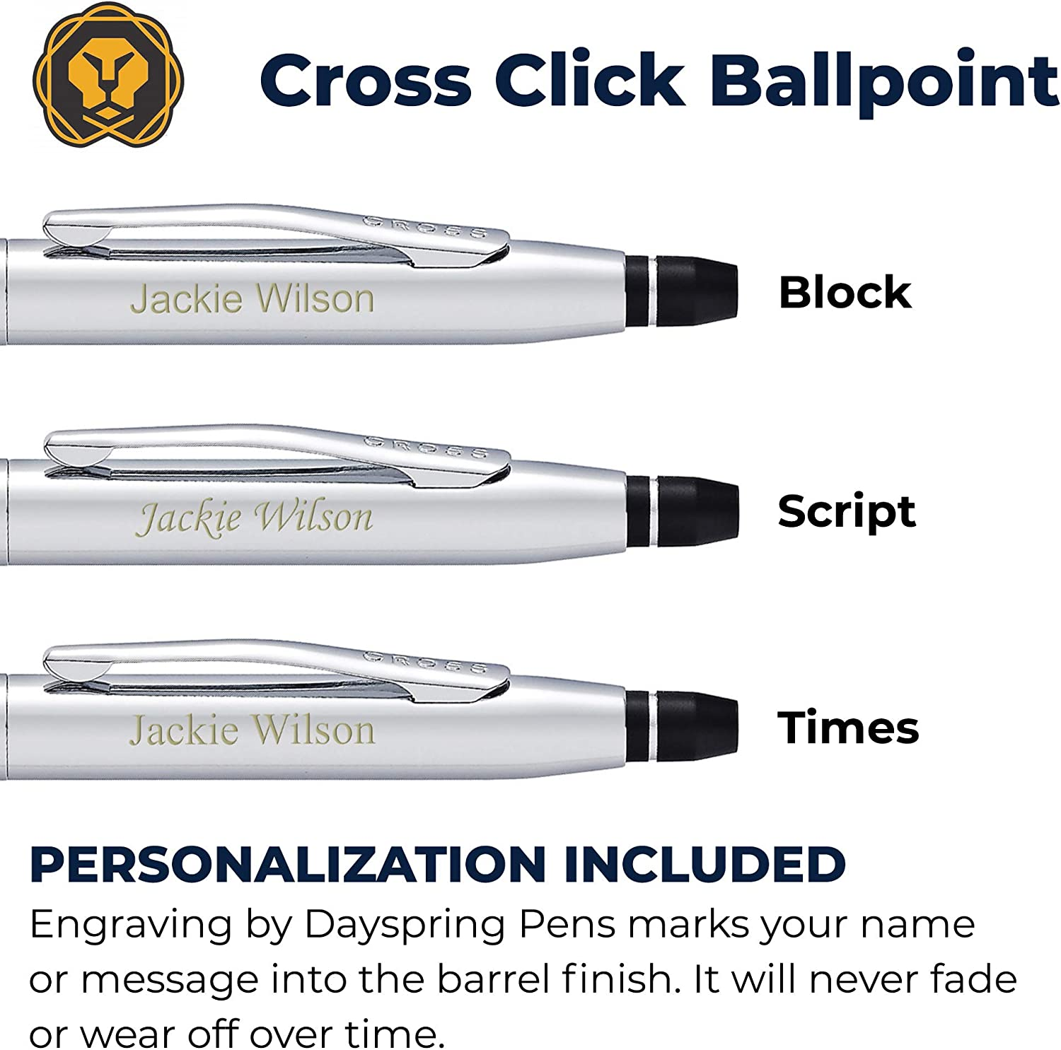 Custom Name Engraving By Dayspring Pens AT0622-101 Comes in Cross Gift Case. Engraved Cross Pen Personalized Cross Click Ballpoint Pen Polished Chrome
