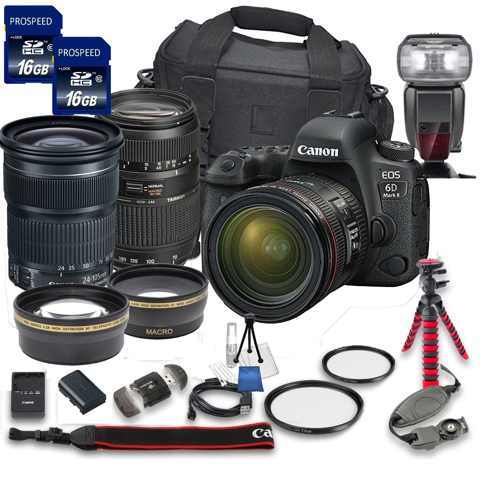 Canon EOS 6D MARK II DSLR Camera Bundle w/ Canon EF 24-105mm f/3.5-5.6 IS STM Lens + Tamron 70-300mm f/4-5.6 Telephoto Lens + 2pc PROSPEED 16GB Memory Cards + Premium Accessory Bundle Kit (18 Items) by Canon