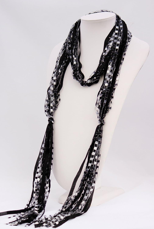 CROCHETLACES Handmade Lightweight Flowing Elements Ribbon Yarn Scarf- Classic Mix