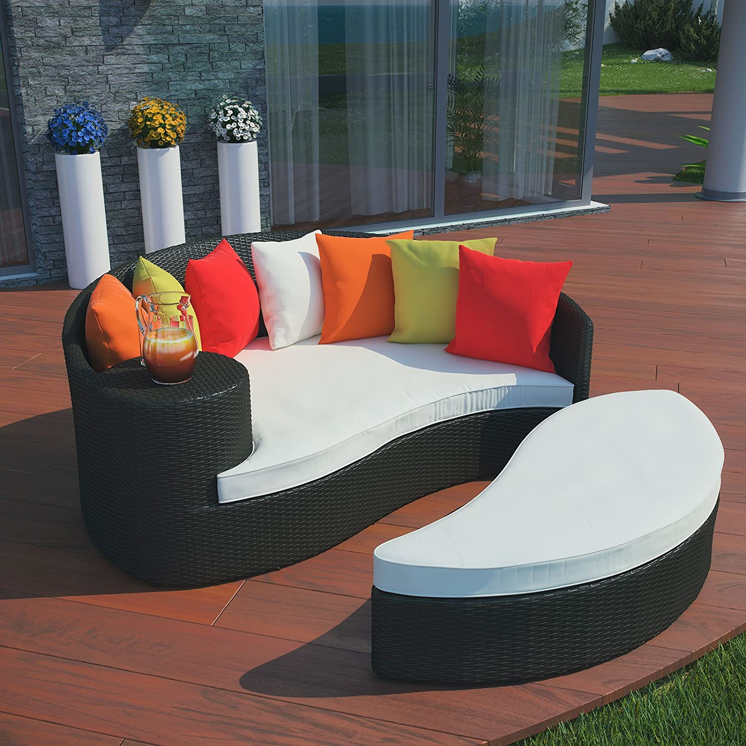 Amazon.com : Modway Taiji Outdoor Wicker Patio Daybed with Ottoman in  Espresso with Multi Colored Cushions : Garden & Outdoor
