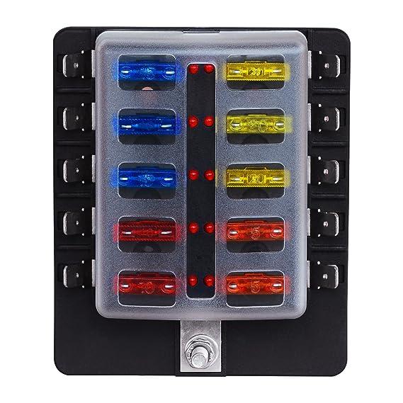 81%2BrkQYUKRL._SX569_ amazon com turn raise 10 way fuse box blade fuse block holder screw