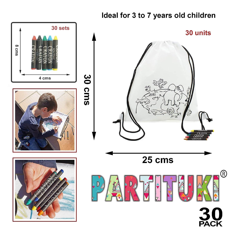 Partituki Lote de 30 Mochilas Infantiles para Colorear. con Ceras de Colores. Ideal para Regalos y Detalles de Fiestas de Cumpleaños Infantiles: Amazon.es: ...