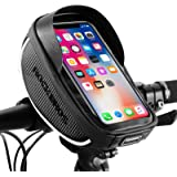 ROCKBROS Bike Phone Mount Bag Bike Front Frame Handlebar Bag Waterproof Bike Phone Holder Case Bicycle Accessories Pouch…